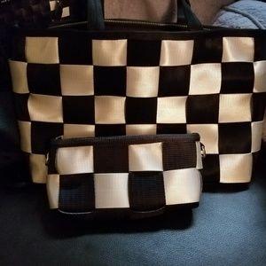 Seatbelt shoulder bag and mini clutch duo